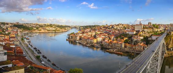 Deurstickers Noord Europa Porto Portugal panorama city skyline at Porto Ribeira with Douro River and Dom Luis I Bridge
