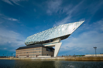 Port authority house (Porthuis) designed by famous Zaha Hadid Architects. Antwerp, Belgium
