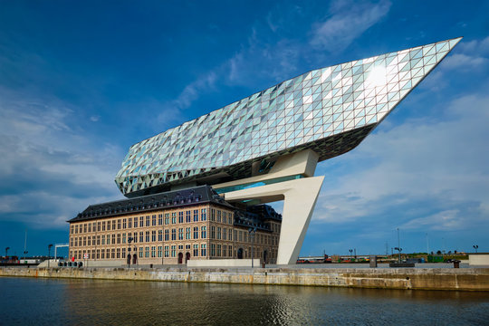 Port authority house (Porthuis) designed by famous Zaha Hadid Architects. Antwerp, Belgium