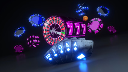 Poker Cards, Casino Chips, Roulette Wheel And Slot With Neon Lights - 3D Illustration