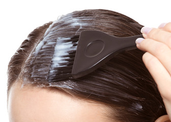 hair coloring with brush on white background