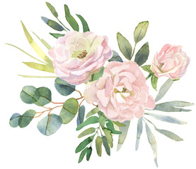 Fototapeta Roses and eucalyptus bouquet obraz