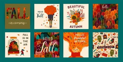 Set of cute autumn illustrations. Vector templates Wall mural
