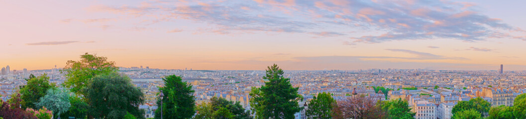 Panoramic view of Paris early in the morning at sunrise / Picture taken at Montmartre