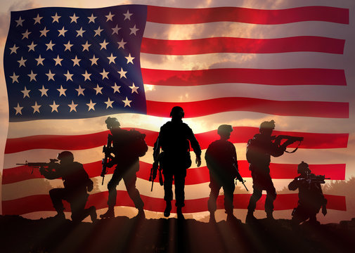 Six military silhouettes against the American flag