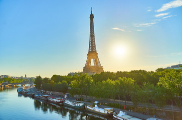 Eiffel Tower from a less usual angle. Picture taken from the Bir-Hakeim Bridge