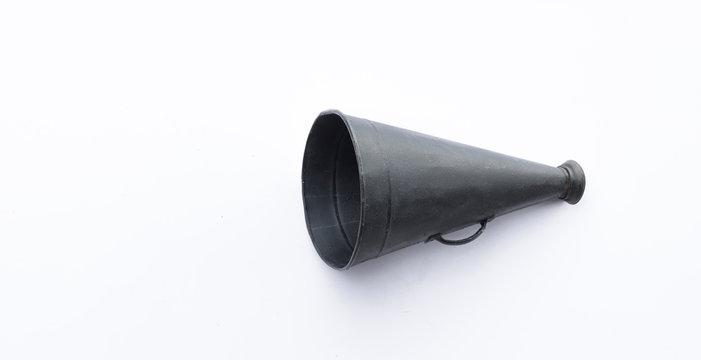 vintage black megaphone isolated on white background
