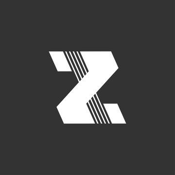 letter z stripes geometric logo vector