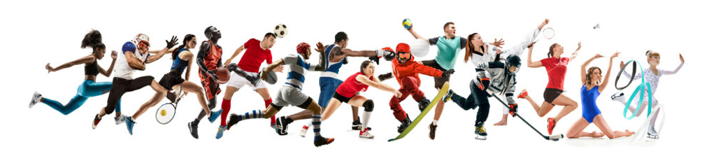 Creative collage of photos of 15 models running and jumping. Advertising, sport, healthy lifestyle, motion, activity, movement concept. American football, soccer, tennis volleyball box badminton rugby