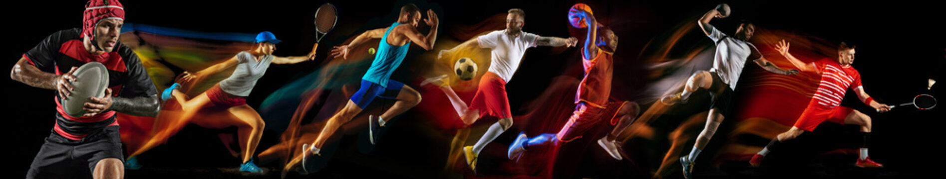Creative collage of photos of 7 models on black in mixed light. Advertising, sport, healthy lifestyle, motion, activity, movement concept. American football, soccer, tennis volleyball basketball rugby