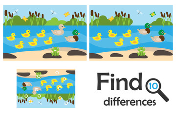 Find 10 differences, game for children, pond with ducks cartoon, education game for kids, preschool worksheet activity, task for the development of logical thinking, vector illustration