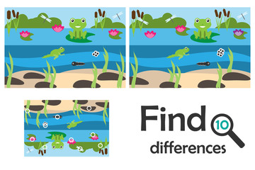 Find 10 differences, game for children, pond with frog cartoon, education game for kids, preschool worksheet activity, task for the development of logical thinking, vector illustration