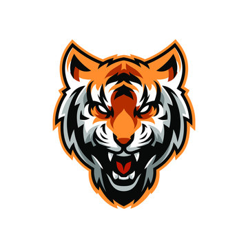 Angry Tiger Mascot, Isolated vector logo illustration