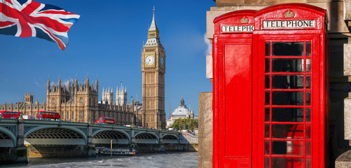 Poster London red bus London symbols with BIG BEN, DOUBLE DECKER BUSES and Red Phone Booths in England, UK
