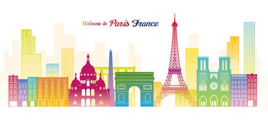 Paris, France Landmarks Skyline, Colourful Colour