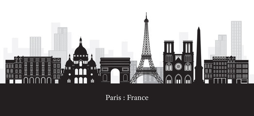 Paris, France Landmarks Skyline, Black and White Colour