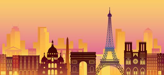 Paris, France Landmarks Skyline, Night Scene