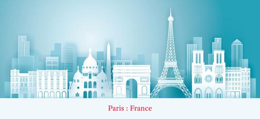 Paris, France Landmarks Skyline, Paper Cutting Style