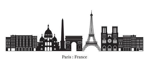 Paris, France Landmarks Skyline, Silhouette