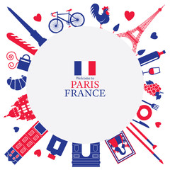 Paris, France Landmarks and Travel Objects Frame