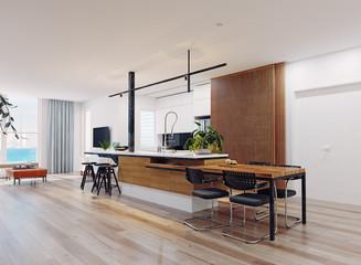modern kitchen interior.