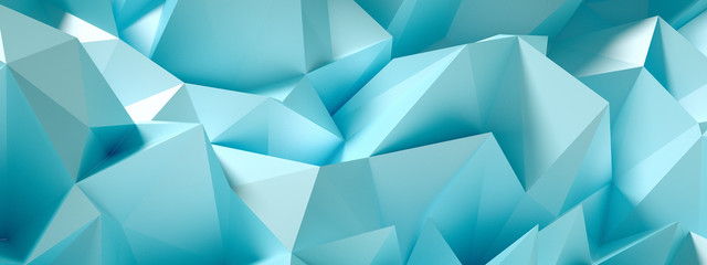 Blue, turquoise background with crystals, triangles. 3d illustration, 3d rendering. Wall mural