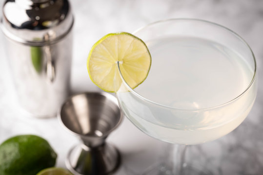 glass of daiquiri on marble background