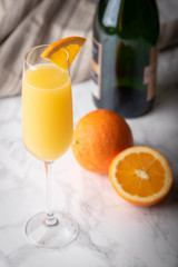 classic mimosa on marble background
