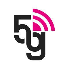 Vector technology icon network sign 5G. Illustration 5g internet symbol in flat line minimalism style. EPS 10
