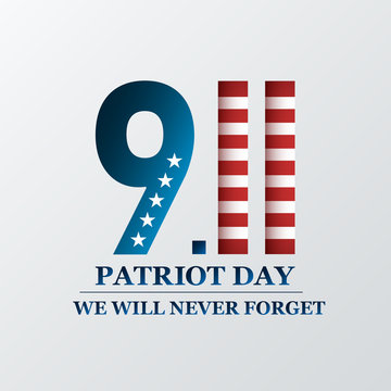 Patriot Day. We will never forget, September 11. Design for postcard, flyer, poster, banner. Vector illustration.
