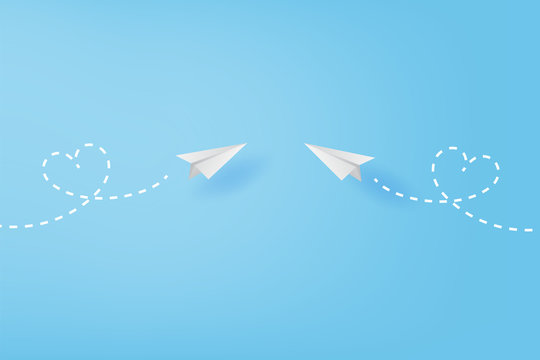 White paper airplanes flying heart concept on blue sky.Creative design paper cut and craft style business success and leadership idea.Minimal decoration pastel color background,Vector illustration.