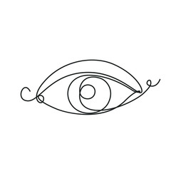 Eye one line drawing on white isolated background. Vector illustration