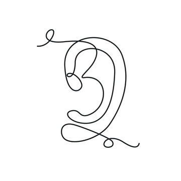Ear one line drawing on white isolated background. Vector illustration