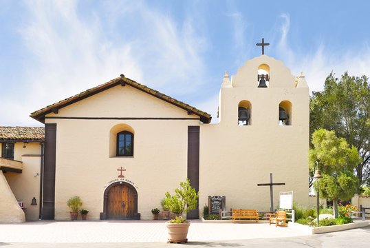 SOLVANG, CALIFORNIA - SEPTEMBER 21, 2016: Mission Santa Ines. Named after St. Agnes of Rome. Founded on September 17, 1804 by Father Estevan Tapis of the Franciscan order.