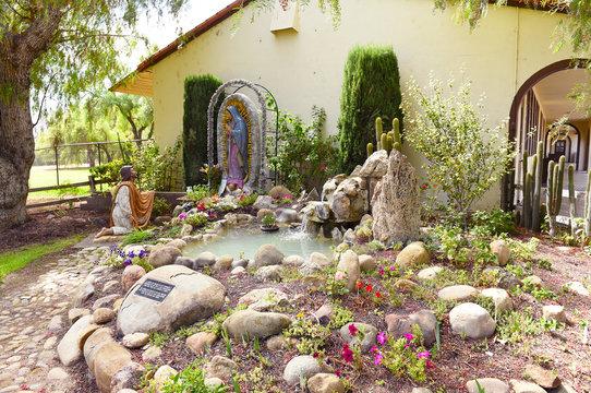 SOLVANG, CALIFORNIA - SEPTEMBER 21, 2016: Shrine at Mission Santa Ines. Named after St. Agnes of Rome. Founded on September 17, 1804 by Father Estevan Tapis of the Franciscan order.