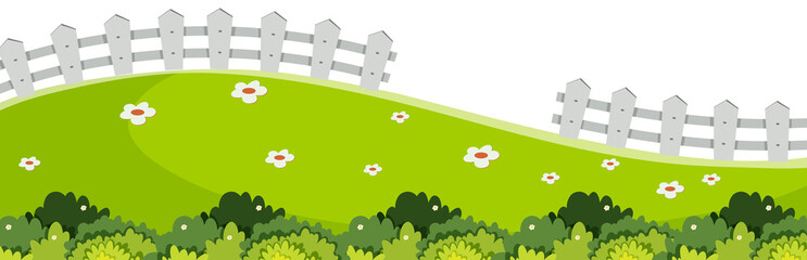 Landscape background with green grass and white fence