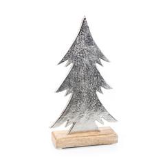 Weihnachten Deko isoliert: Baum aus Holz und Metall