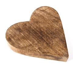 Holz Herz in braun isoliert auf weiß als Hintergrund