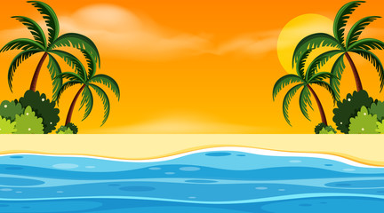 Landscape background design with seaside at sunset
