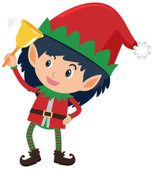 Single character of elf on white background