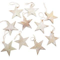 Weihnachten Holz Dekoration: Sterne Anhänger isoliert