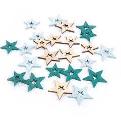 Isolierte Holz Weihnachten Sterne in mint, petrol, grün, natur