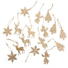 Gold glänzende Weihnachten Anhänger Dekoration isoliert auf weiß