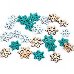 Schneeflocken aus Holz zum Streuen isoliert: Dekoration Weihnachten