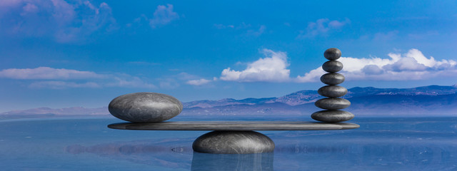 Wall Murals Zen Zen stones row from large to small in water with blue sky. 3d illustration