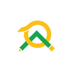 linked pencil green mountain sun abstract logo