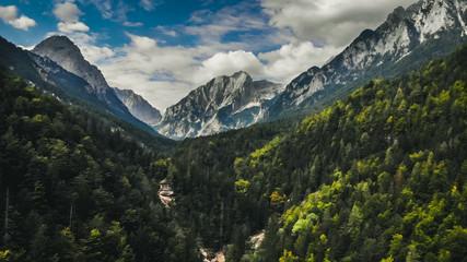 Triglav mountains in triglav national park, part of Julian Alps in Slovenia.