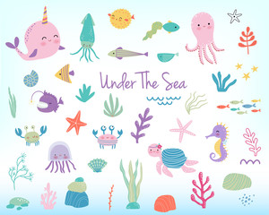 Cute cartoon sea animals and plants. Vector illustration