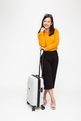 Happy Asian woman girl with suitcase isolated on white background, Travel and tourist concept