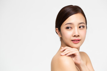 Beautiful Young Asian woman with clean fresh skin, Facial treatment and cosmetology beauty and spa concept